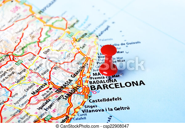 Barcelona In Spain Map.Barcelona Spain Map Close Up Of Barcelona Spain Map And Red Pin
