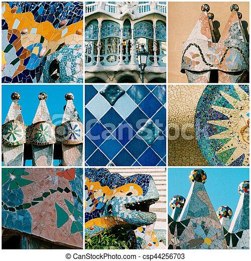 Barcelona Travel Collage With Antonio Gaudi Architectural Details Barcelona Travel Collage With Antonio Gaudi Architectural