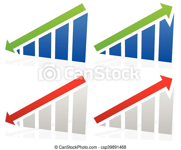 Barchart with arrows. Up down arrows on chart. 2 colors. - csp39891468