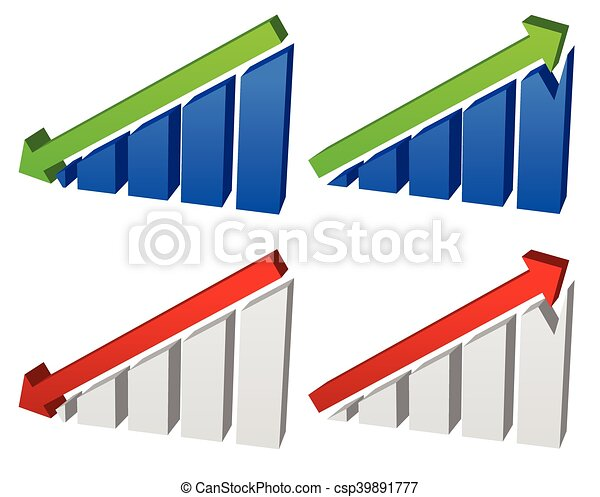 Barchart with arrows. Up down arrows on chart. 2 colors. - csp39891777