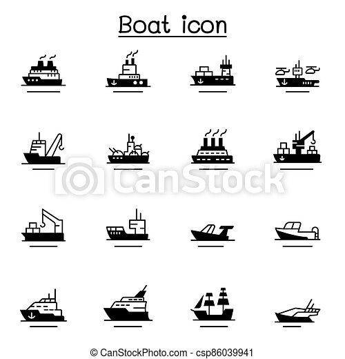 barco, barco, icono, conjunto - csp86039941