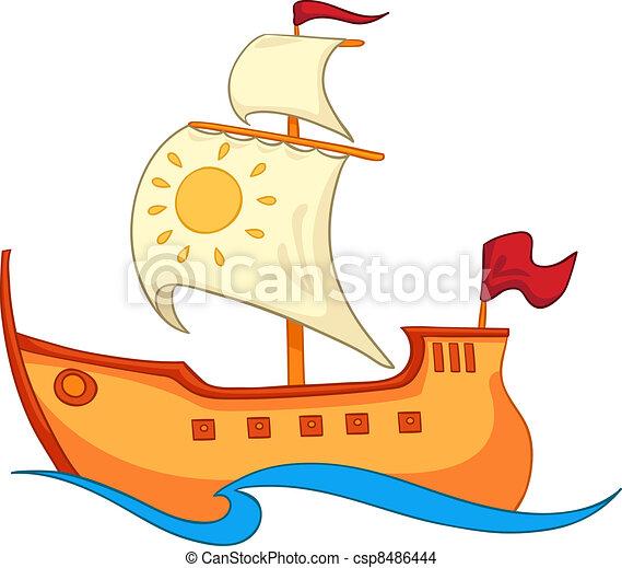 Blanco Aislado Ilustración Fondo Vector Barco Caricatura