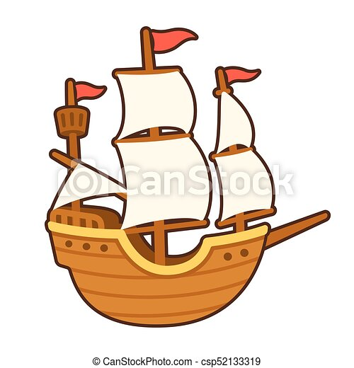 Barco Caricatura Navegación Viejo Illustration Blanco Dibujo