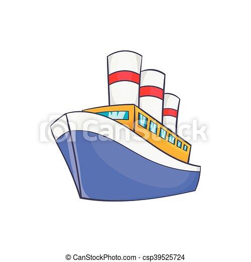 Barco Icono Estilo Caricatura Estilo Icono Fondo Blanco