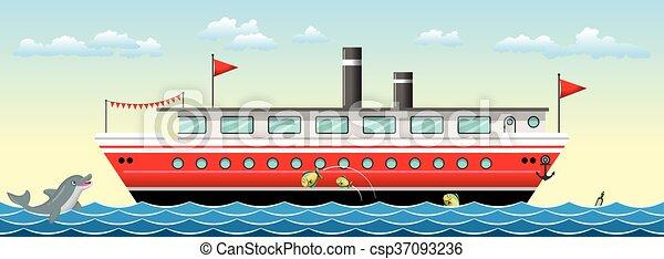 Un fondo de barco sin color con peces - csp37093236