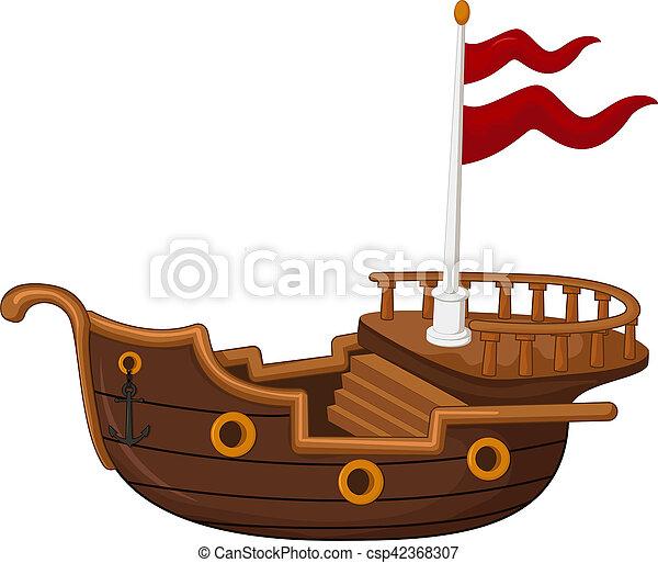 Barco Pirata Caricatura Pirata Barco Vector Caricatura
