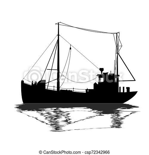 Silueta de barco de pesca - csp72342966