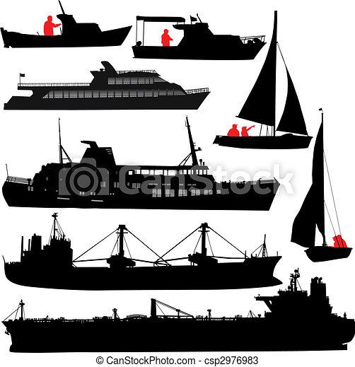 barco, siluetas - csp2976983