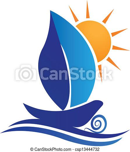 Hojas de barco y logo creativo del sol - csp13444732