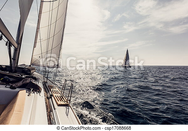 barco, velas, yates, navegación, blanco - csp17088668