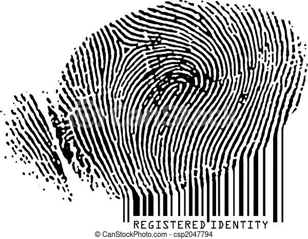 barcode., enregistré, -, empreinte doigt, devenir, identité - csp2047794
