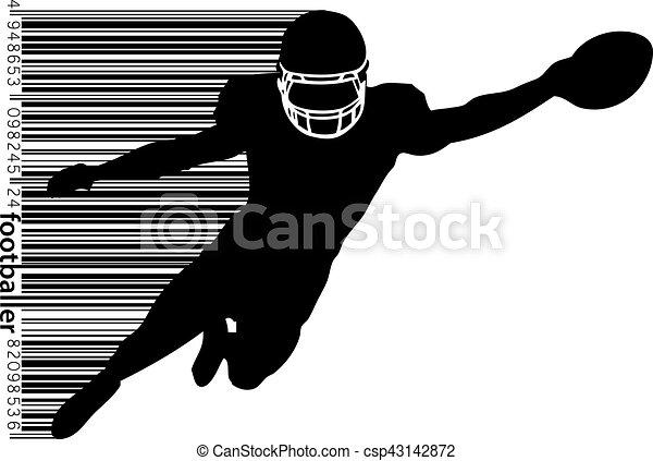 Barcode Fussball Silhouette Rugby Spieler