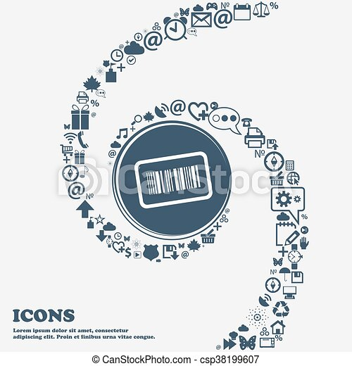 Barcode icon sign in the center. Around the many beautiful symbols twisted in a spiral. You can use each separately for your design. Vector - csp38199607