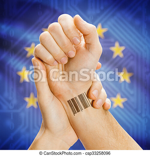 Barcode ID number on wrist and national flag on background - European Union - csp33258096