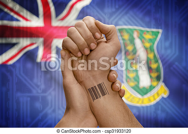Barcode ID number on wrist of dark skinned person and national flag on background - British Virgin Islands - csp31933120