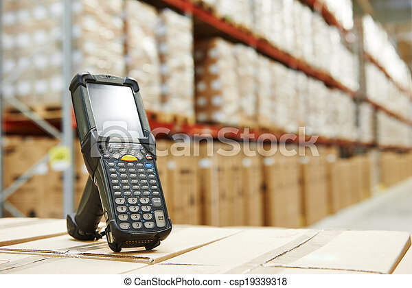 barcode scanner at warehouse - csp19339318