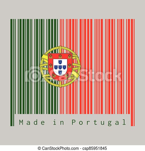 Barcode set the color of Portugal. flag, 2:3 vertically striped bicolor of green and red, with coat of arms of Portugal centred over the color boundary. - csp85951845