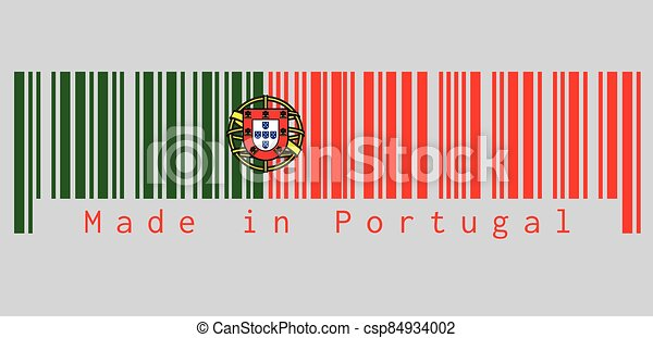 Barcode set the color of Portugal. flag, 2:3 vertically striped bicolor of green and red, with coat of arms of Portugal centred over the color boundary. - csp84934002