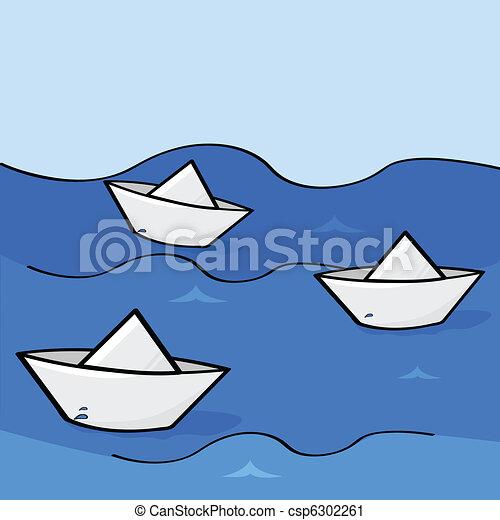 Barcos Papel Abajo Tres Ilustración Agua Papel Barcos Flotar