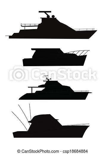 Barcos de pesca en silueta - csp18684884