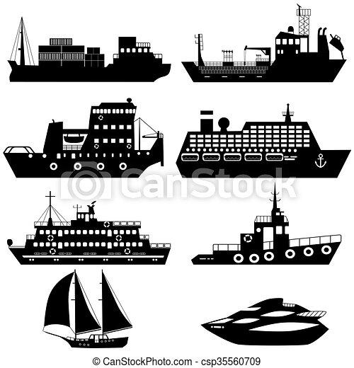 Siluetas de barcos y barcos - csp35560709
