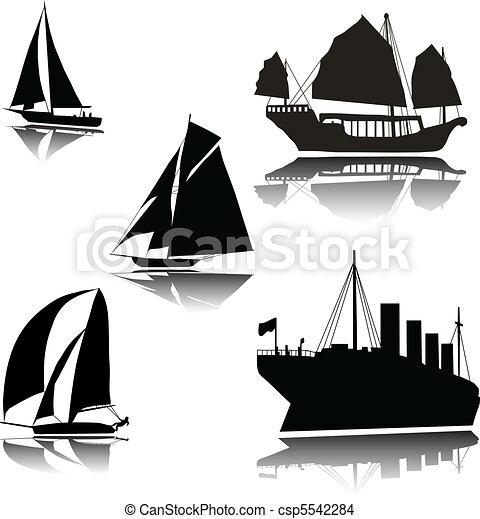 Naves de varias siluetas vectoriales - csp5542284