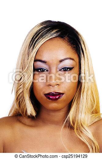Bare Shoulder Portrait African American Woman Blond Wig - csp25194129