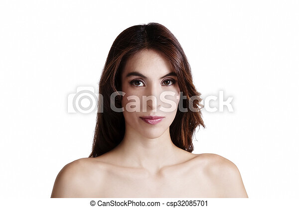 Bare Shoulder Portrait Skinny Attractive Latina Woman - csp32085701
