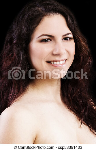 Bare Shoulder Smiling Portrait Young Caucasian Woman - csp53391403