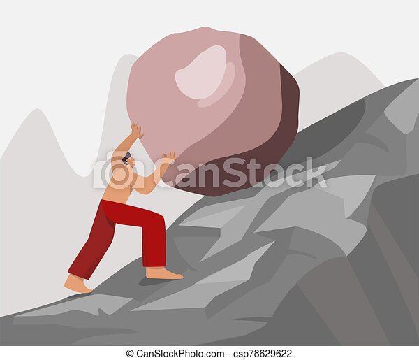 Barefoot strong guy climb up rock carry move to goal vector flat illustration - csp78629622
