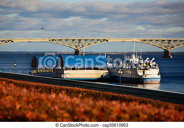 Barge on the Volga River on a sunny day - csp35610953