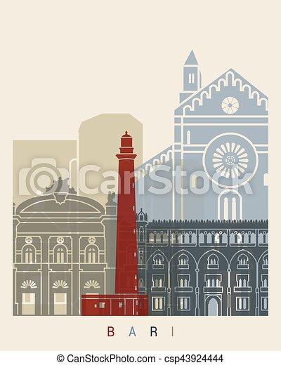 El póster de Bari Skyline - csp43924444