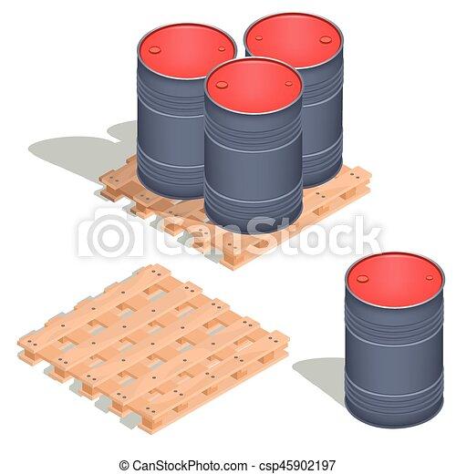 barils, isométrique, huile, icônes, bois, palette, vecteur - csp45902197