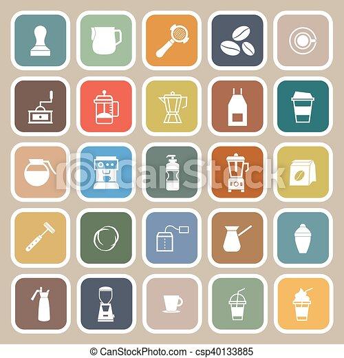 Barista flat icon on brown background - csp40133885