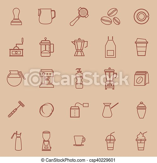 Barista line color icon on brown background - csp40229601