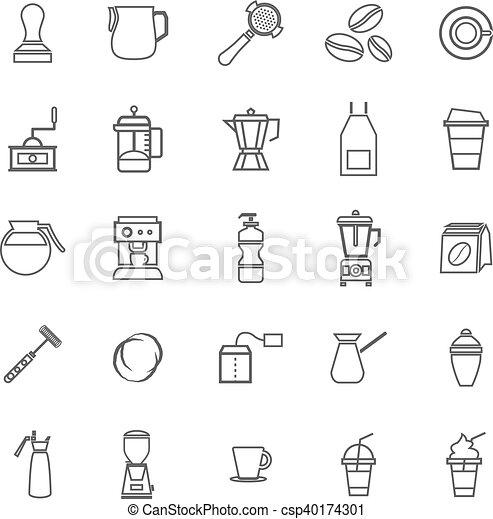 Barista line icon on white background - csp40174301