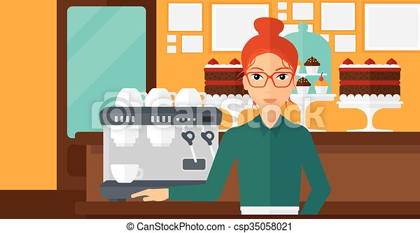 Barista standing near coffee maker. - csp35058021