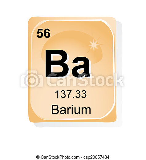 Barium Chemical Element With Atomic Number Symbol And Vectors