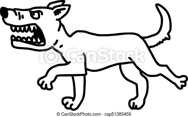 barking dog vector illustration sketch hand drawn with black lines, isolated on white background - csp51383459