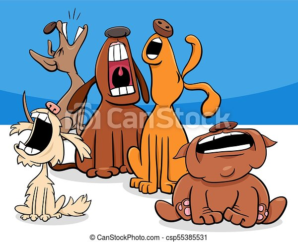 barking or howling dogs cartoon characters group - csp55385531