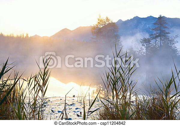 Barmsee in Alps at sunrise - csp11204842