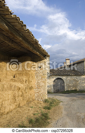 barn and farm door at vers sur meou - csp37295328