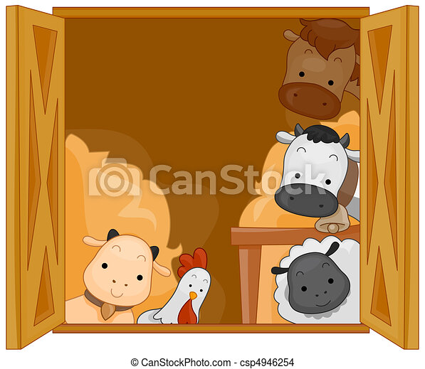 Barn Animals Illustration Of Cute In A Drawing