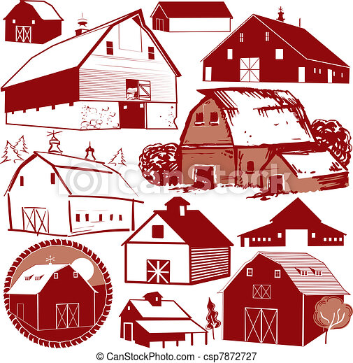 Barn Collection Clip Art Collection Of Various Red Barns