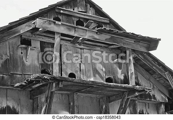 Barn Hay Loft Birdhouse Holes Numerous Large Bird Hole Opening Are