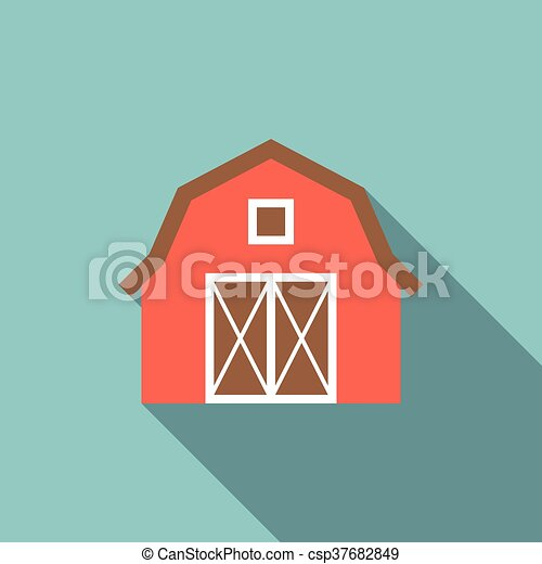 Barn Illustration Red Icon With Long Shadow Simple Eps