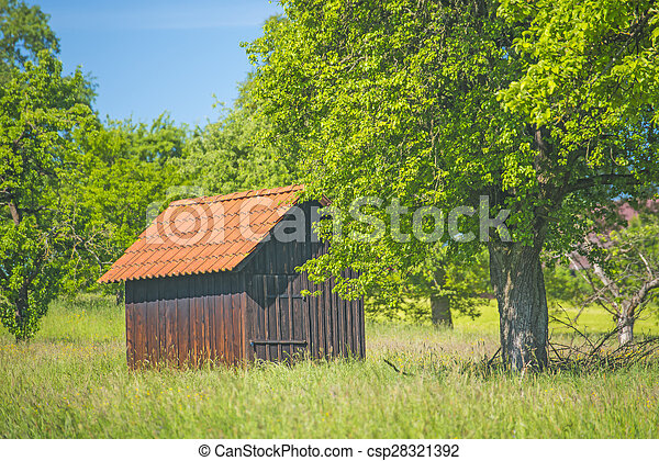 Barn in a meadow - csp28321392