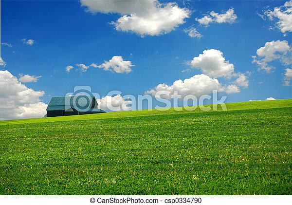 Barn in farm field - csp0334790