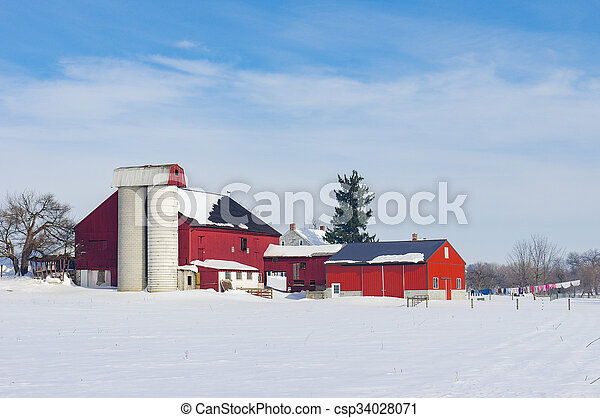 Barn in Snow Covered Meadow - csp34028071