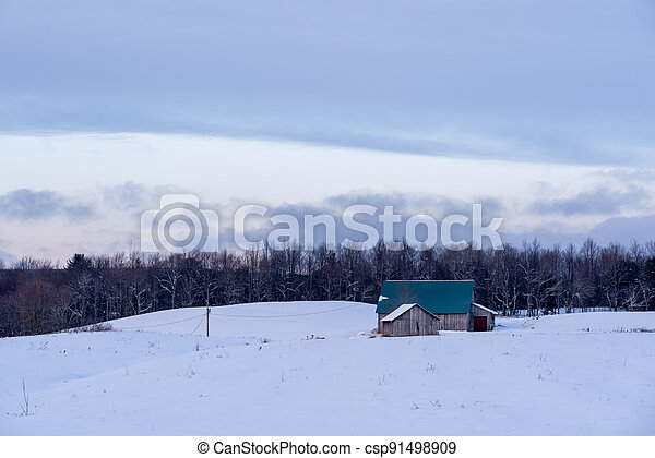 Barn in Snow Covered Meadow - csp91498909